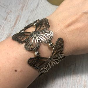 Vintage Silver Colored Stretchy Butterfly